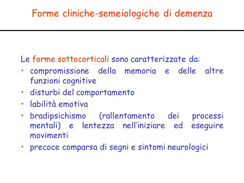 Forme cliniche-semeiologiche di demenza Le forme sottocorticali sono caratterizzate da: compromissione della memoria e delle altre funzioni cognitive