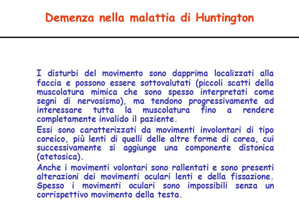 Demenza nella malattia di Huntington I disturbi del movimento sono dapprima localizzati alla faccia e possono essere sottovalutati (piccoli scatti del