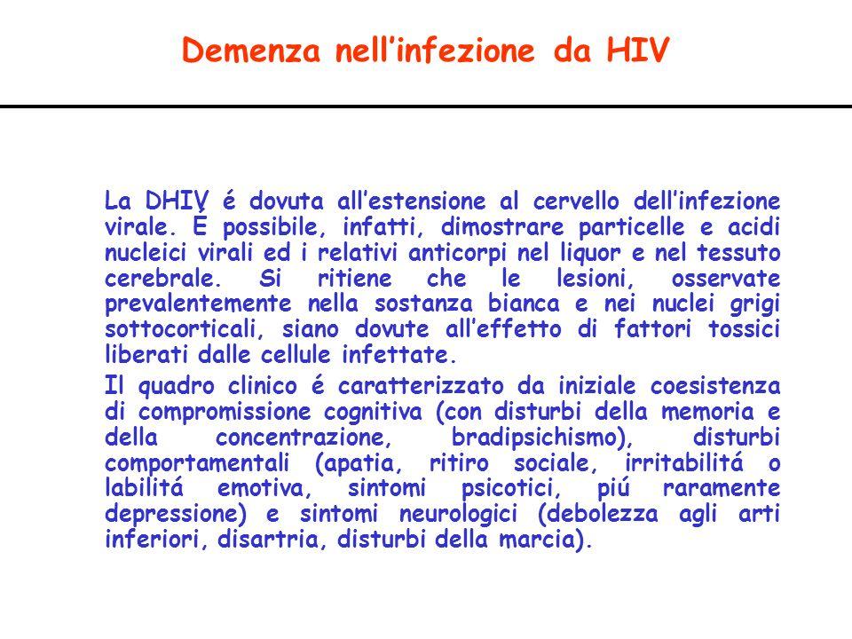 Demenza nellinfezione da HIV La DHIV é dovuta allestensione al cervello dellinfezione virale. É possibile, infatti, dimostrare particelle e acidi nucl