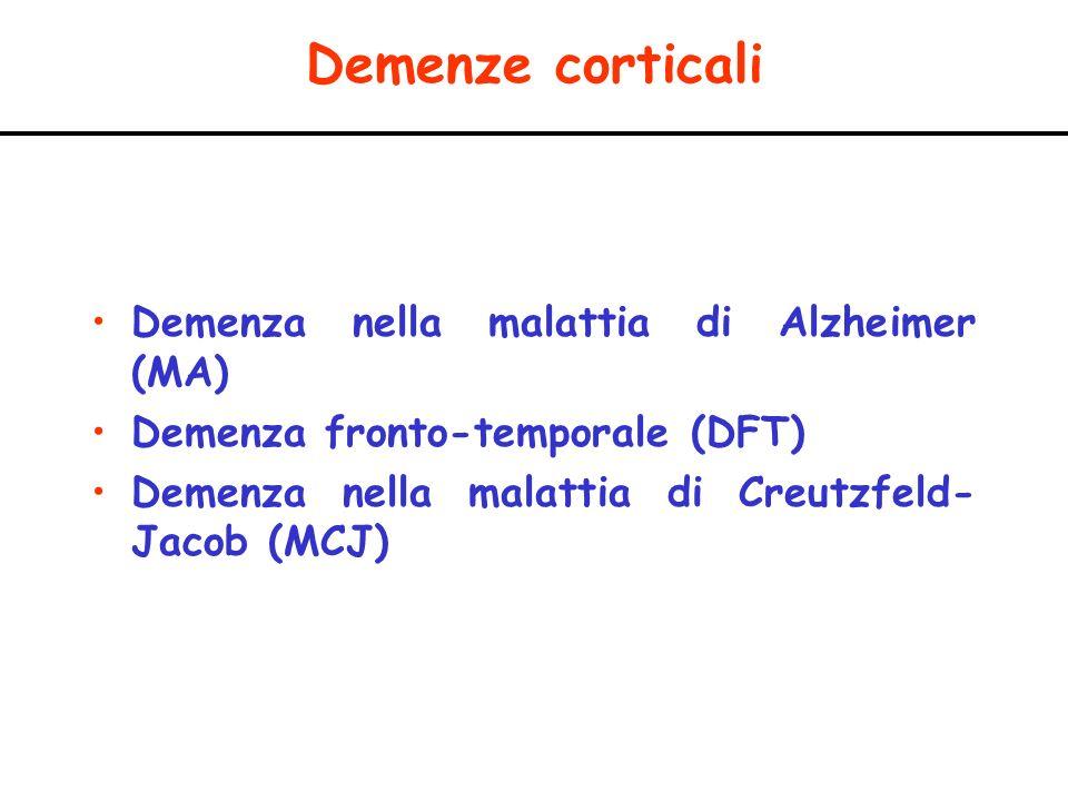 Demenze corticali Demenza nella malattia di Alzheimer (MA) Demenza fronto-temporale (DFT) Demenza nella malattia di Creutzfeld- Jacob (MCJ)