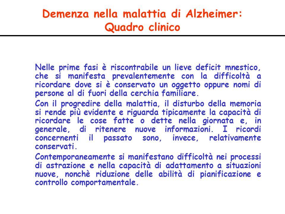 Demenza nella malattia di Alzheimer: Quadro clinico Nelle prime fasi è riscontrabile un lieve deficit mnestico, che si manifesta prevalentemente con l