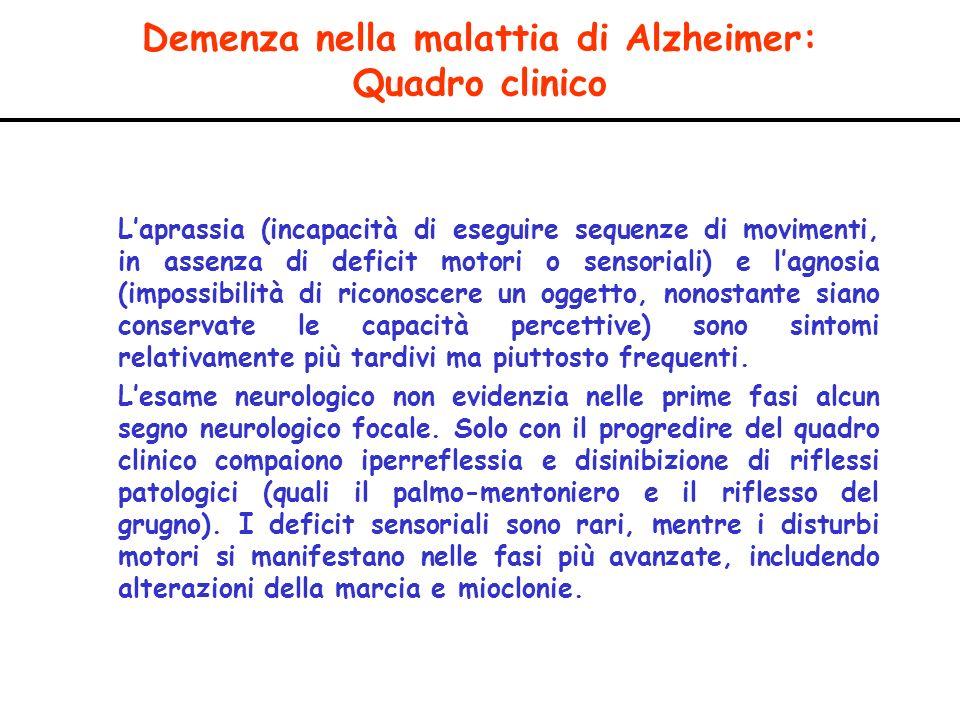 Demenza nella malattia di Alzheimer: Quadro clinico Laprassia (incapacità di eseguire sequenze di movimenti, in assenza di deficit motori o sensoriali