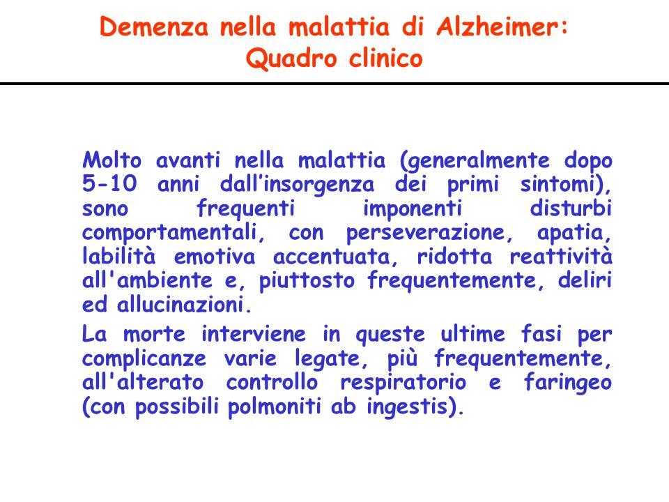 Demenza nella malattia di Alzheimer: Quadro clinico Molto avanti nella malattia (generalmente dopo 5-10 anni dallinsorgenza dei primi sintomi), sono f