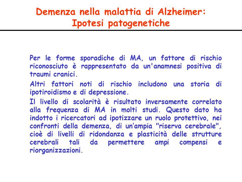 Demenza nella malattia di Alzheimer: Ipotesi patogenetiche Per le forme sporadiche di MA, un fattore di rischio riconosciuto è rappresentato da un'ana
