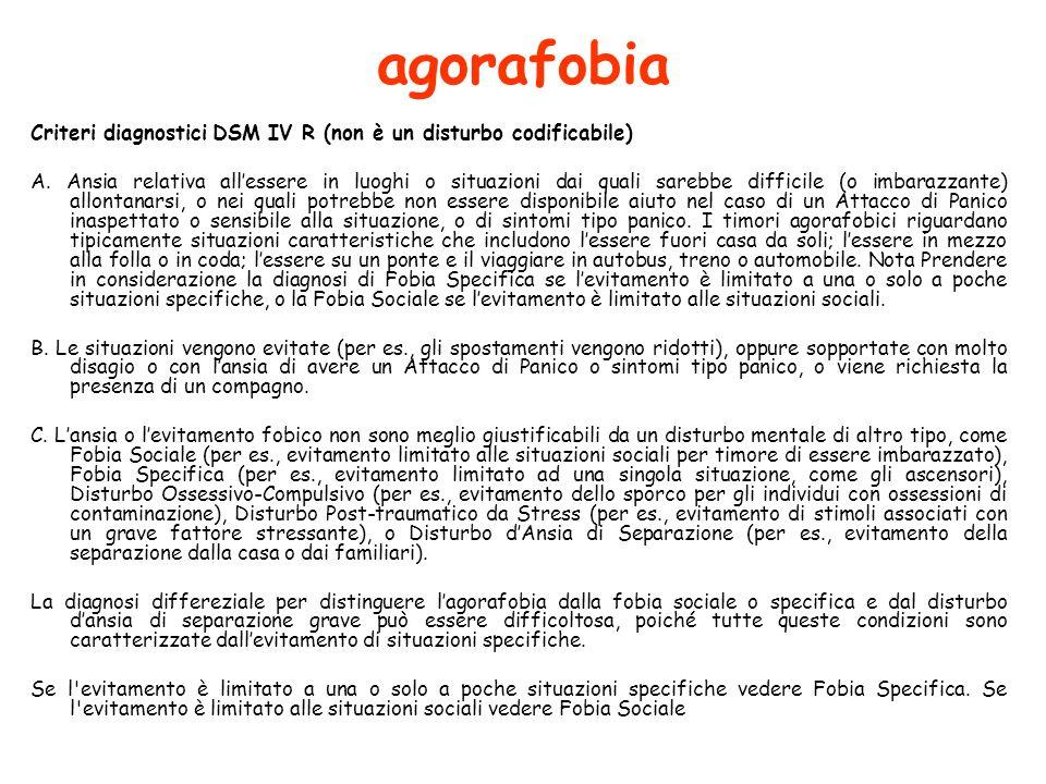 agorafobia Criteri diagnostici DSM IV R (non è un disturbo codificabile) A.