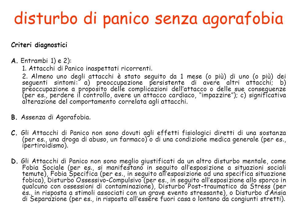 disturbo di panico senza agorafobia Criteri diagnostici A.
