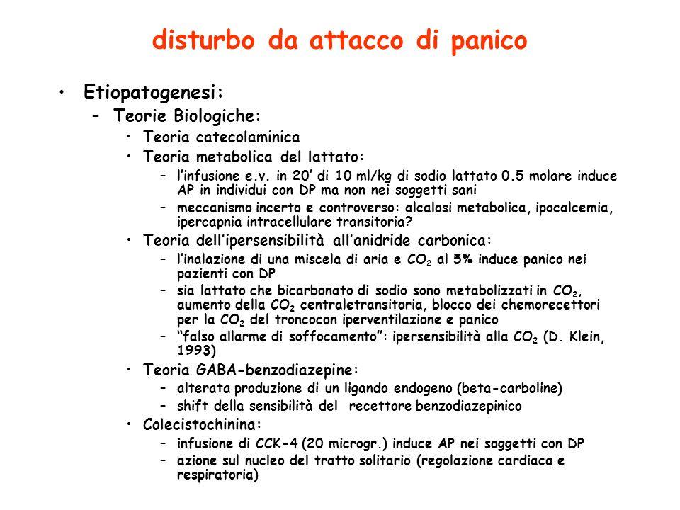 disturbo da attacco di panico Etiopatogenesi: –Teorie Biologiche: Teoria catecolaminica Teoria metabolica del lattato: –linfusione e.v.
