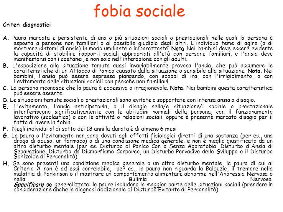 fobia sociale Criteri diagnostici A.
