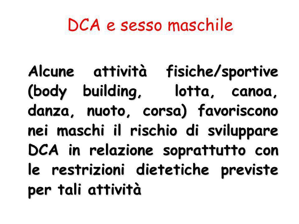 DCA e sesso maschile Alcune attività fisiche/sportive (body building, lotta, canoa, danza, nuoto, corsa) favoriscono nei maschi il rischio di sviluppa