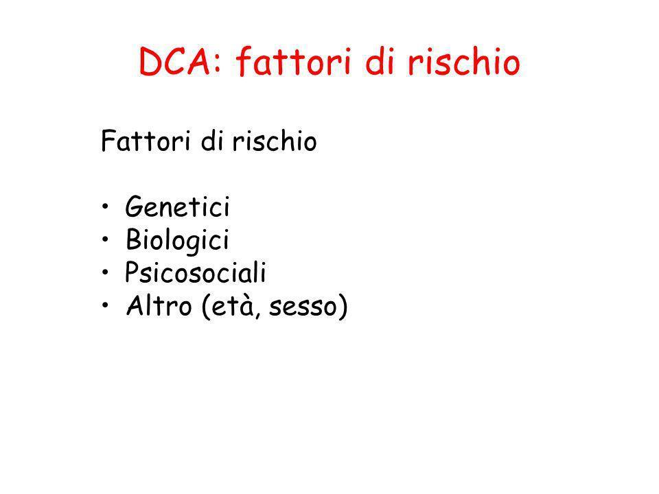 Fattori di rischio Genetici Biologici Psicosociali Altro (età, sesso)
