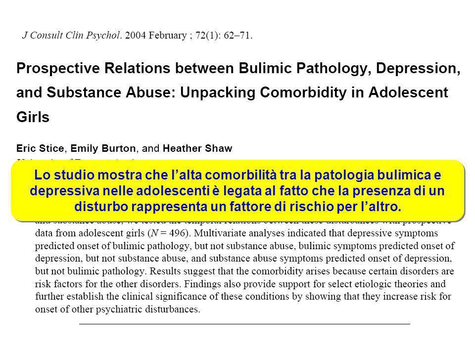 Lo studio mostra che lalta comorbilità tra la patologia bulimica e depressiva nelle adolescenti è legata al fatto che la presenza di un disturbo rappr