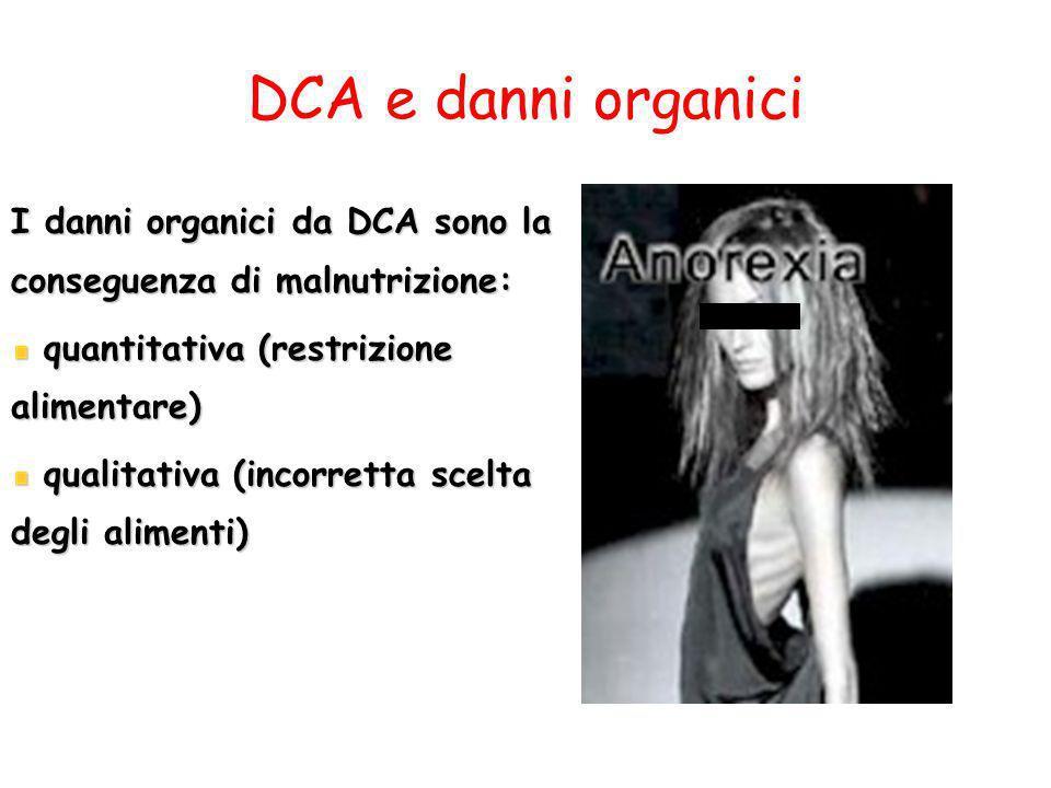 DCA e danni organici I danni organici da DCA sono la conseguenza di malnutrizione: quantitativa (restrizione alimentare) quantitativa (restrizione ali