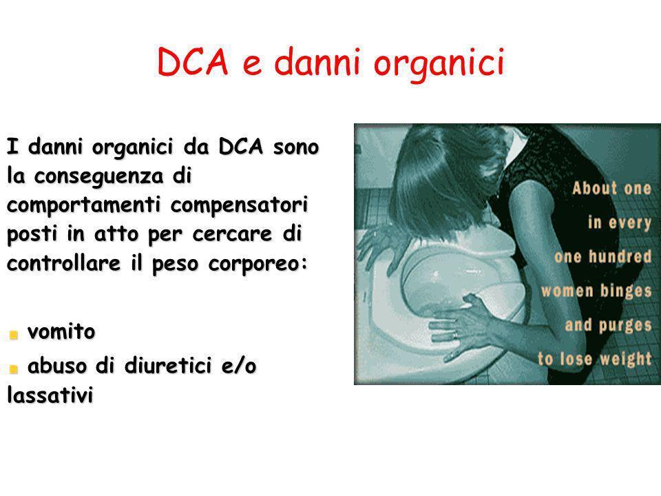 DCA e danni organici I danni organici da DCA sono la conseguenza di comportamenti compensatori posti in atto per cercare di controllare il peso corpor