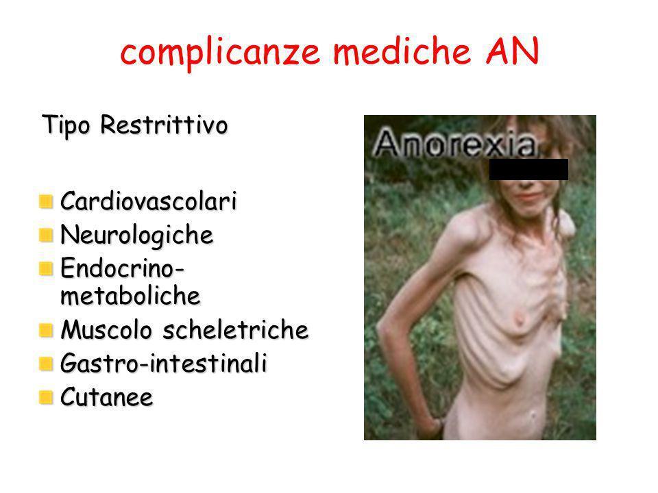 complicanze mediche AN CardiovascolariNeurologiche Endocrino- metaboliche Muscolo scheletriche Gastro-intestinaliCutanee Tipo Restrittivo