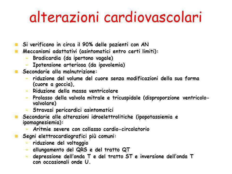 alterazioni cardiovascolari Si verificano in circa il 90% delle pazienti con AN Meccanismi adattativi (asintomatici entro certi limiti): –Bradicardia