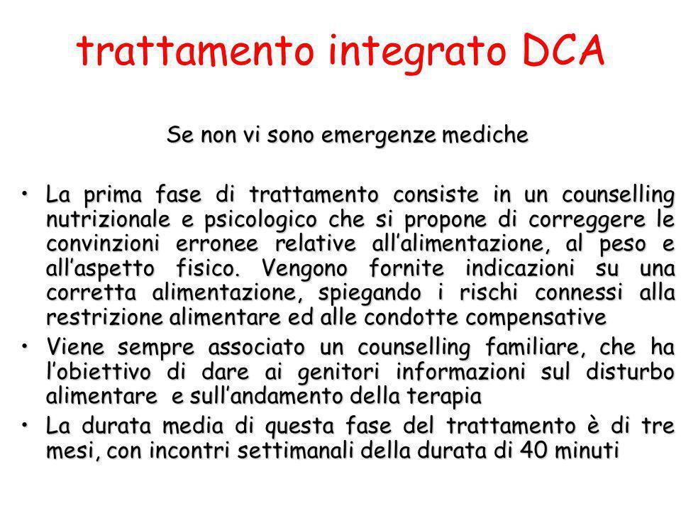 trattamento integrato DCA Se non vi sono emergenze mediche La prima fase di trattamento consiste in un counselling nutrizionale e psicologico che si p