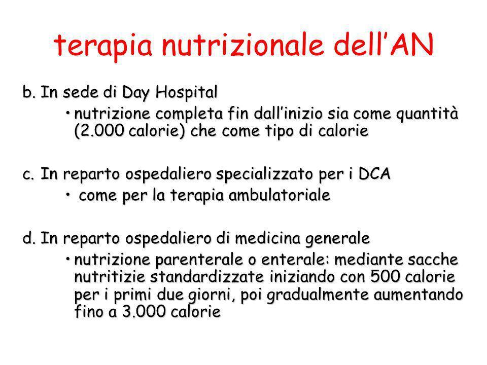 terapia nutrizionale dellAN b.In sede di Day Hospital nutrizione completa fin dallinizio sia come quantità (2.000 calorie) che come tipo di calorienut