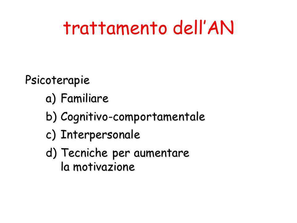 Psicoterapie a)Familiare b)Cognitivo-comportamentale c)Interpersonale d)Tecniche per aumentare la motivazione trattamento dellAN