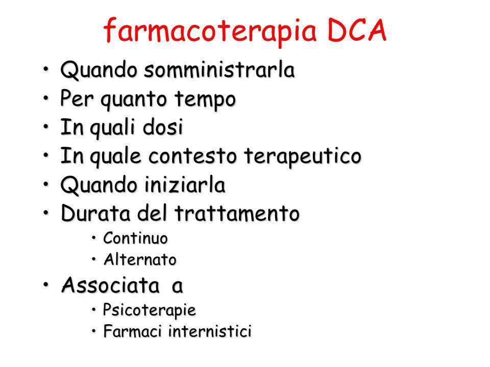 farmacoterapia DCA Quando somministrarlaQuando somministrarla Per quanto tempoPer quanto tempo In quali dosiIn quali dosi In quale contesto terapeutic