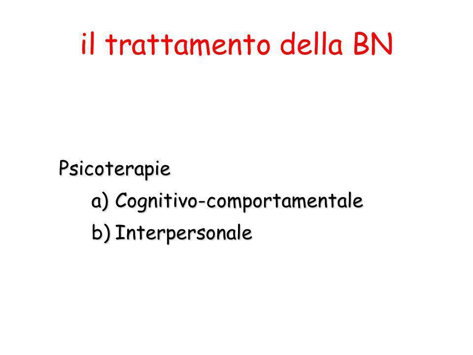 Psicoterapie a)Cognitivo-comportamentale b)Interpersonale il trattamento della BN