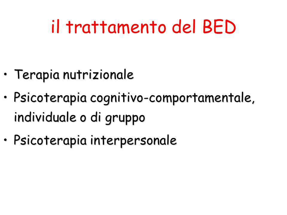 il trattamento del BED Terapia nutrizionaleTerapia nutrizionale Psicoterapia cognitivo-comportamentale, individuale o di gruppoPsicoterapia cognitivo-