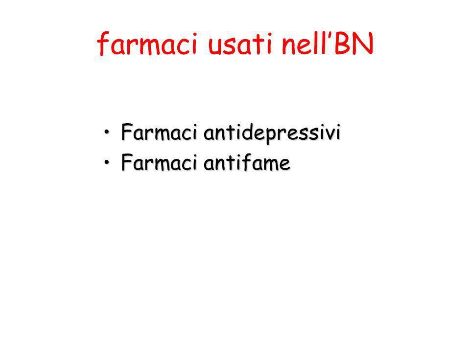 farmaci usati nellBN Farmaci antidepressiviFarmaci antidepressivi Farmaci antifameFarmaci antifame