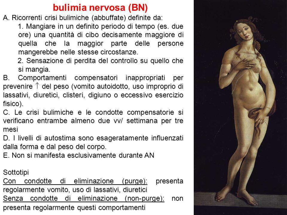 bulimia nervosa (BN) A. Ricorrenti crisi bulimiche (abbuffate) definite da: 1. Mangiare in un definito periodo di tempo (es. due ore) una quantità di
