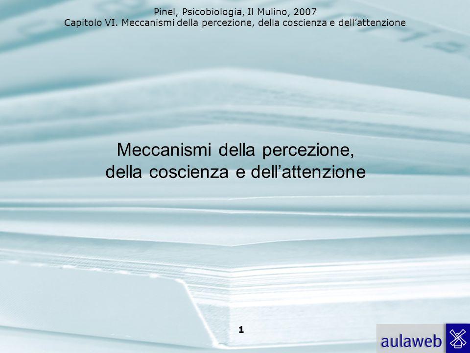 Pinel, Psicobiologia, Il Mulino, 2007 Capitolo VI. Meccanismi della percezione, della coscienza e dellattenzione 1 Meccanismi della percezione, della