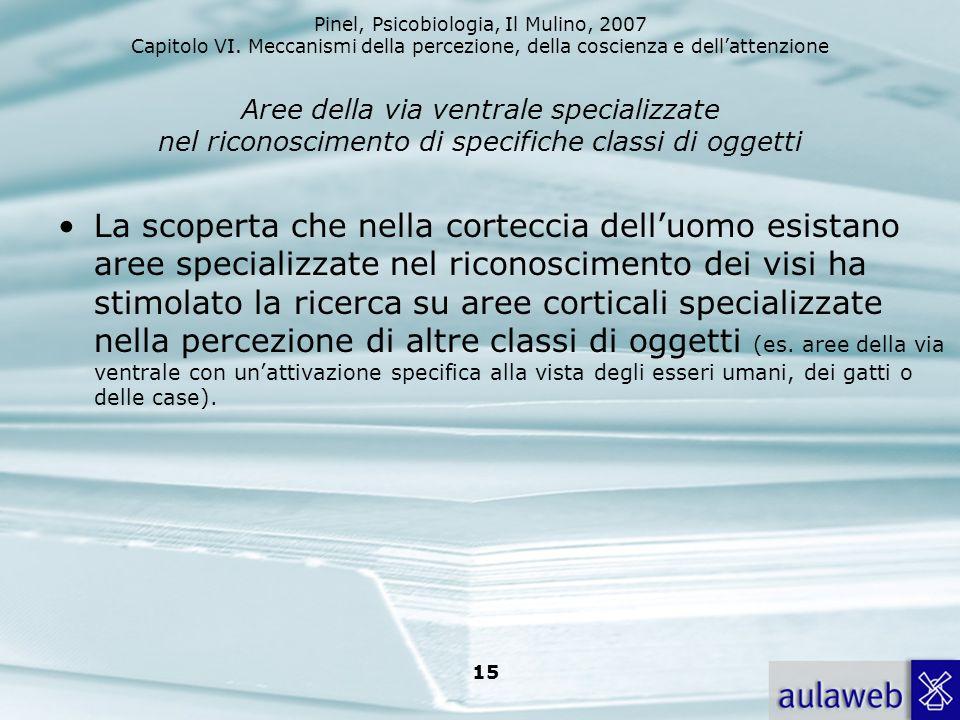 Pinel, Psicobiologia, Il Mulino, 2007 Capitolo VI. Meccanismi della percezione, della coscienza e dellattenzione 15 Aree della via ventrale specializz