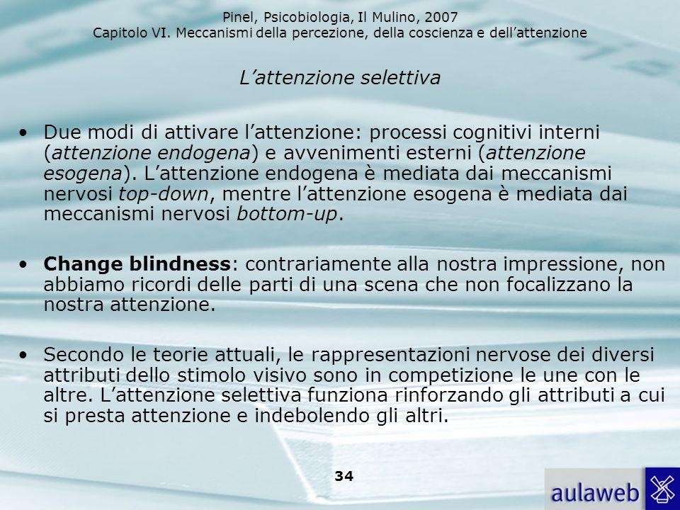 Pinel, Psicobiologia, Il Mulino, 2007 Capitolo VI. Meccanismi della percezione, della coscienza e dellattenzione 34 Lattenzione selettiva Due modi di