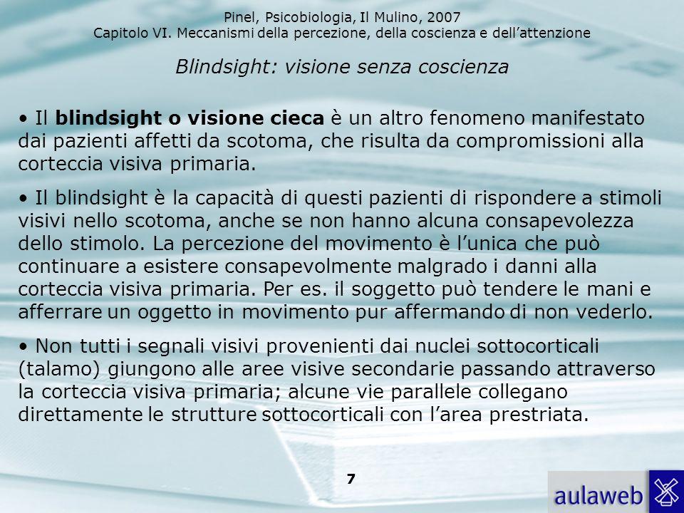 Pinel, Psicobiologia, Il Mulino, 2007 Capitolo VI. Meccanismi della percezione, della coscienza e dellattenzione 7 Blindsight: visione senza coscienza
