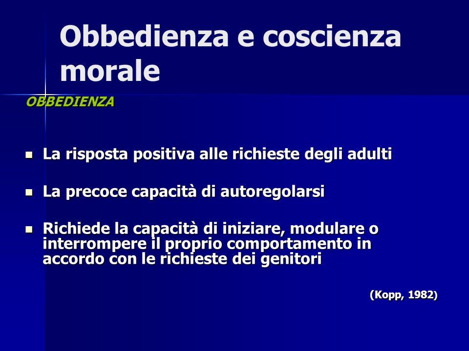 Obbedienza e coscienza morale OBBEDIENZA La risposta positiva alle richieste degli adulti La risposta positiva alle richieste degli adulti La precoce