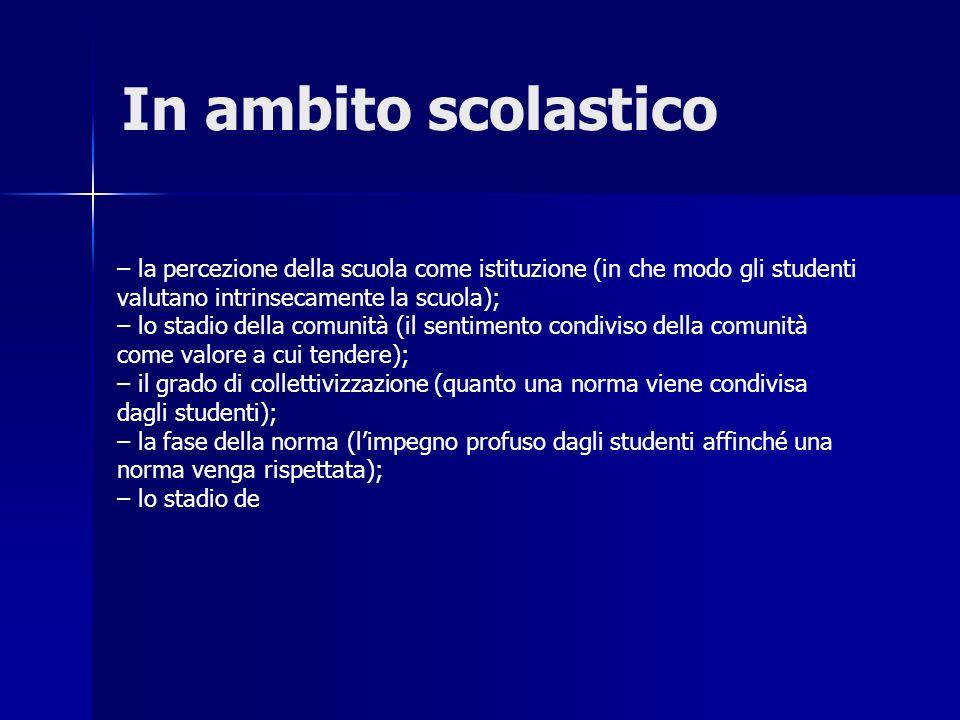 In ambito scolastico – la percezione della scuola come istituzione (in che modo gli studenti valutano intrinsecamente la scuola); – lo stadio della co