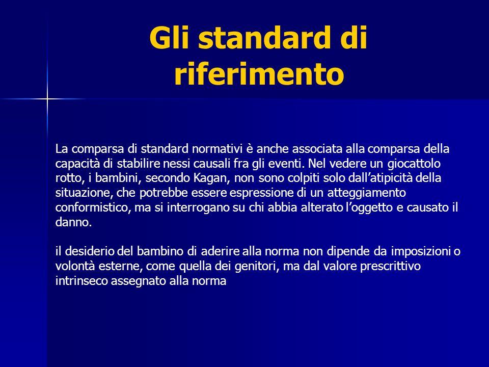 Gli standard di riferimento La comparsa di standard normativi è anche associata alla comparsa della capacità di stabilire nessi causali fra gli eventi