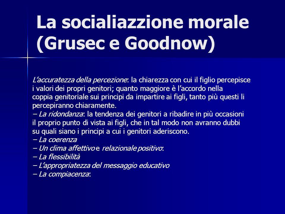 La socialiazzione morale (Grusec e Goodnow) Laccuratezza della percezione: la chiarezza con cui il figlio percepisce i valori dei propri genitori; qua