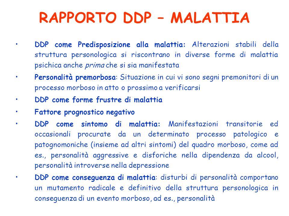 RAPPORTO DDP – MALATTIA DDP come Predisposizione alla malattia: Alterazioni stabili della struttura personologica si riscontrano in diverse forme di m