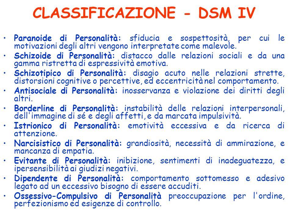 CLASSIFICAZIONE - DSM IV Paranoide di Personalità: sfiducia e sospettosità, per cui le motivazioni degli altri vengono interpretate come malevole. Sch