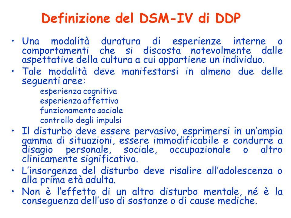 Definizione del DSM-IV di DDP Una modalità duratura di esperienze interne o comportamenti che si discosta notevolmente dalle aspettative della cultura