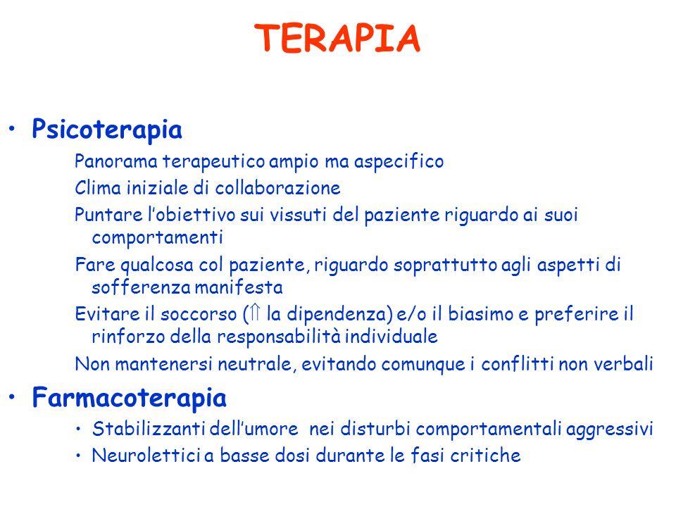 TERAPIA Psicoterapia Panorama terapeutico ampio ma aspecifico Clima iniziale di collaborazione Puntare lobiettivo sui vissuti del paziente riguardo ai