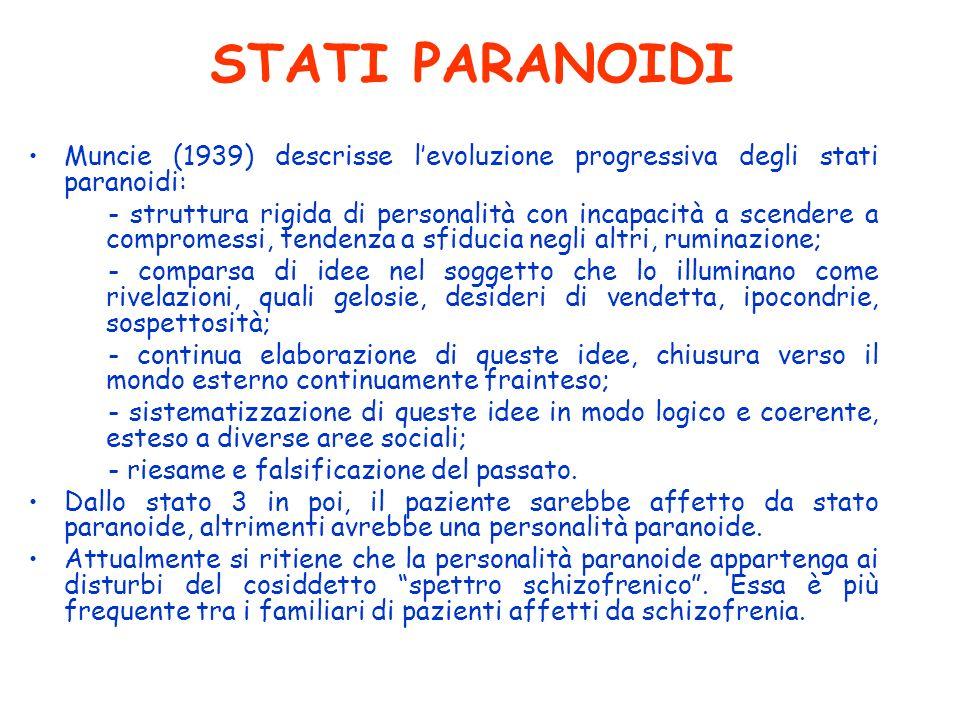 STATI PARANOIDI Muncie (1939) descrisse levoluzione progressiva degli stati paranoidi: - struttura rigida di personalità con incapacità a scendere a c