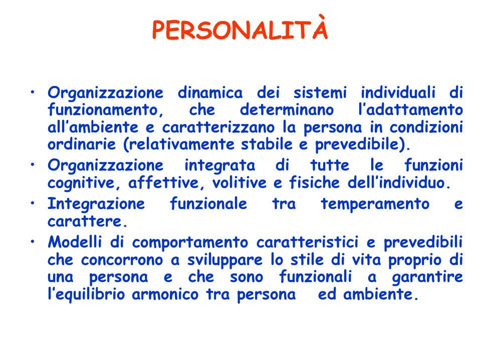 PERSONALITÀ Organizzazione dinamica dei sistemi individuali di funzionamento, che determinano ladattamento allambiente e caratterizzano la persona in