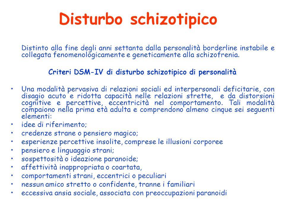 Disturbo schizotipico Distinto alla fine degli anni settanta dalla personalità borderline instabile e collegata fenomenologicamente e geneticamente al