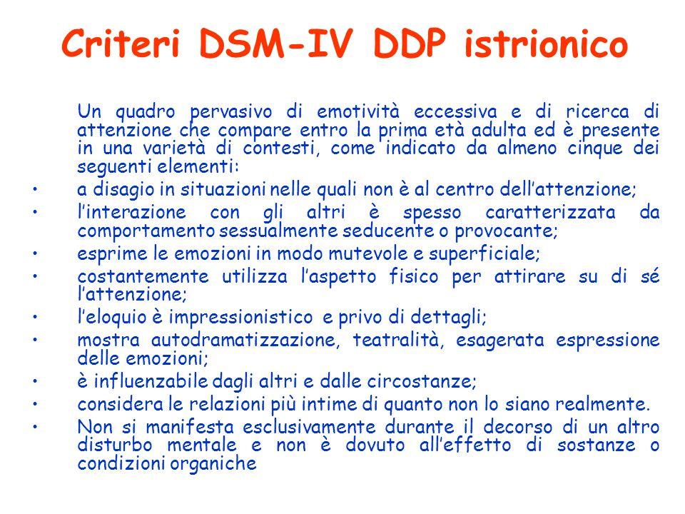 Criteri DSM-IV DDP istrionico Un quadro pervasivo di emotività eccessiva e di ricerca di attenzione che compare entro la prima età adulta ed è present