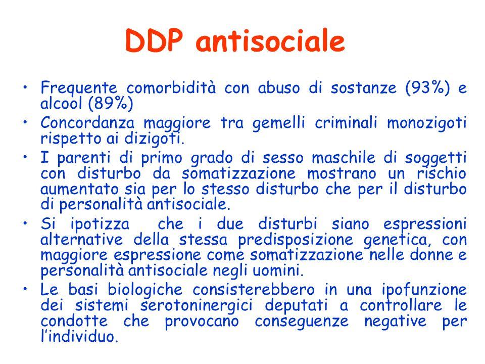 DDP antisociale Frequente comorbidità con abuso di sostanze (93%) e alcool (89%) Concordanza maggiore tra gemelli criminali monozigoti rispetto ai diz