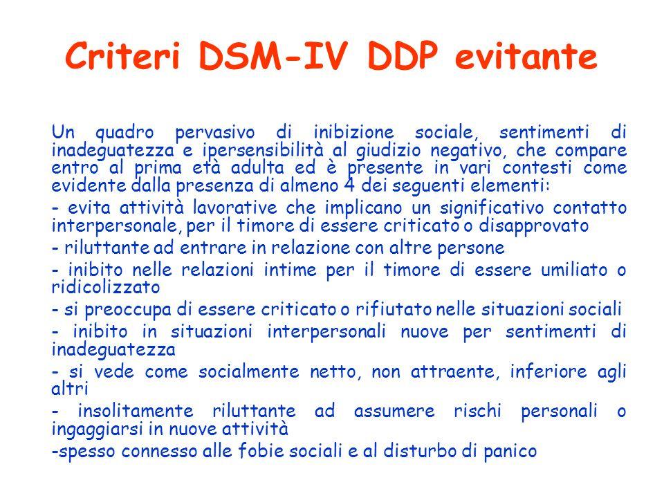 Criteri DSM-IV DDP evitante Un quadro pervasivo di inibizione sociale, sentimenti di inadeguatezza e ipersensibilità al giudizio negativo, che compare