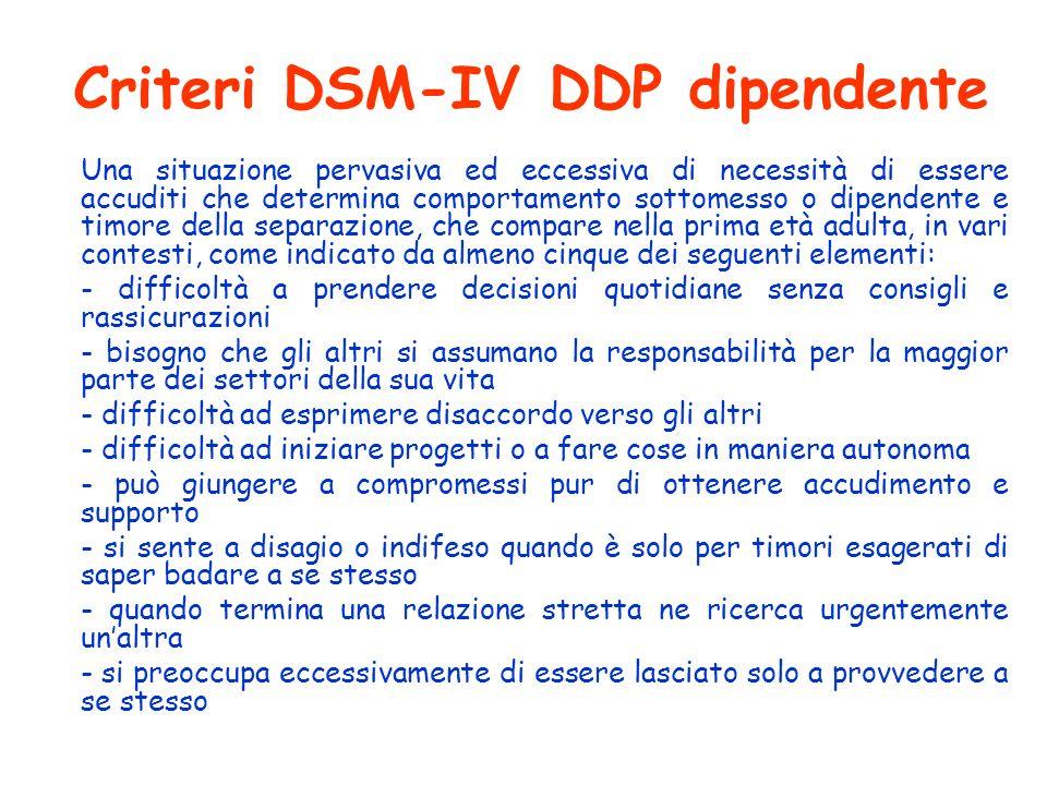 Criteri DSM-IV DDP dipendente Una situazione pervasiva ed eccessiva di necessità di essere accuditi che determina comportamento sottomesso o dipendent