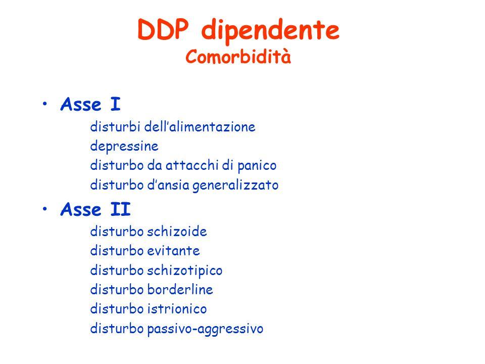 DDP dipendente Comorbidità Asse I disturbi dellalimentazione depressine disturbo da attacchi di panico disturbo dansia generalizzato Asse II disturbo