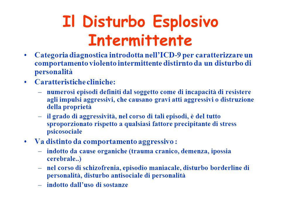Il Disturbo Esplosivo Intermittente Categoria diagnostica introdotta nellICD-9 per caratterizzare un comportamento violento intermittente distirnto da
