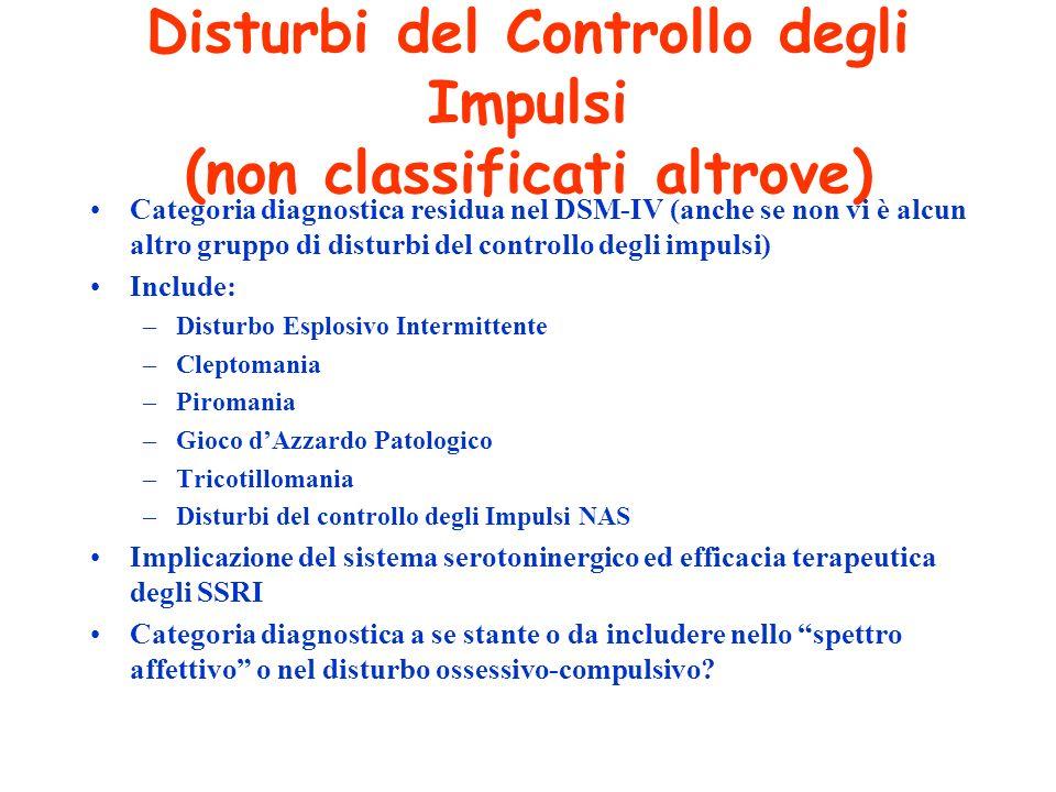 Disturbi del Controllo degli Impulsi (non classificati altrove) Categoria diagnostica residua nel DSM-IV (anche se non vi è alcun altro gruppo di dist