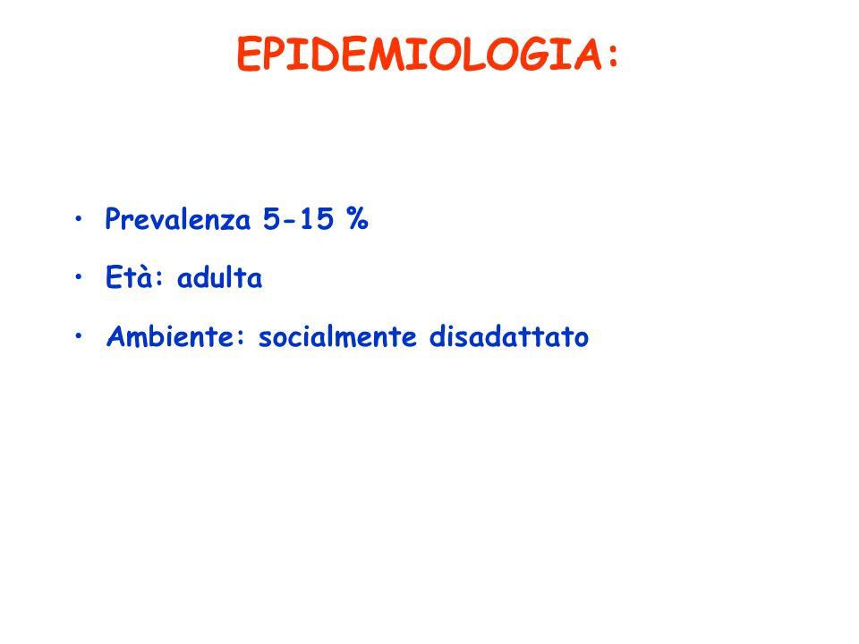 EPIDEMIOLOGIA: Prevalenza 5-15 % Età: adulta Ambiente: socialmente disadattato